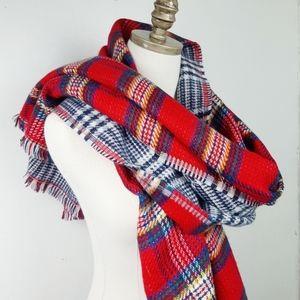 Plaid Blanket Scarf Reversible Fringe Red Blue